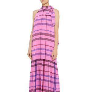 NWT Apiece Apart Pink Plaid Tie-Neck Linen Maxi